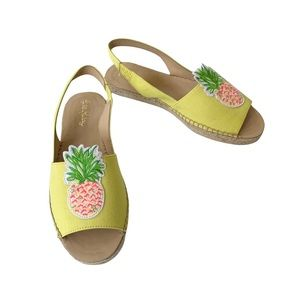 Lilly Pulitzer Liz Pineapple Embroidered Slingback Flat 7 NWT